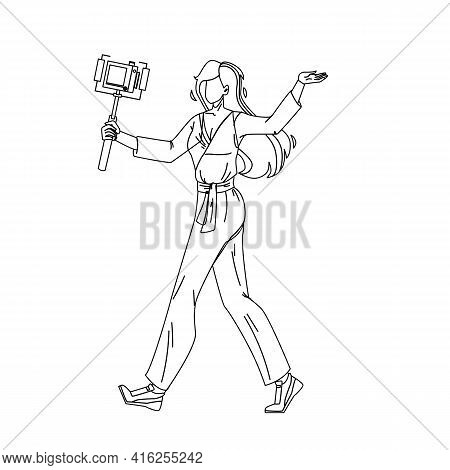 Blogger Woman Recording Video With Camera Black Line Pencil Drawing Vector. Young Girl Blogger Holdi