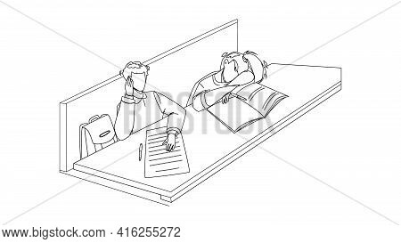 Bore Student Sitting At Classroom Table Black Line Pencil Drawing Vector. Bore Student Girl Sleeping