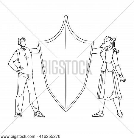 Brand Building, Trademark Or Product Name Black Line Pencil Drawing Vector. Man And Woman Designers