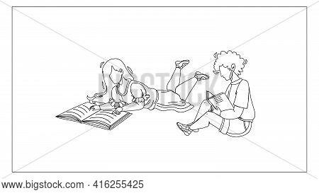 Children Read Information In Education Book Black Line Pencil Drawing Vector. Children Reading Educa