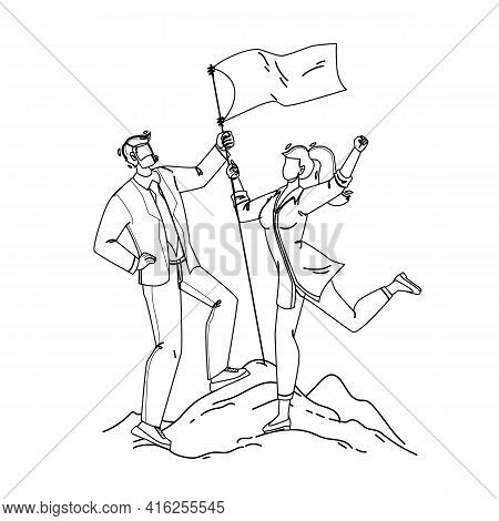 Man And Woman Couple Conquer Mountain Peak Black Line Pencil Drawing Vector. Businessman And Busines