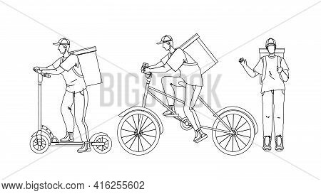 Courier Man Delivery Service Worker Set Black Line Pencil Drawing Vector. Young Man Courier Deliveri