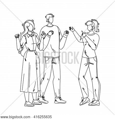 Deaf People Communication Sign Language Black Line Pencil Drawing Vector. Deaf Young Man And Women D