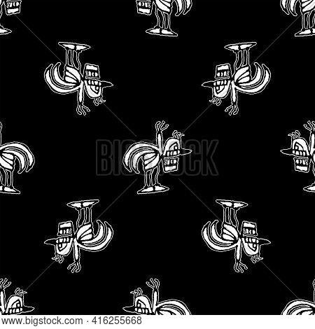 Black And White Sketchy Birds Motif Pattern