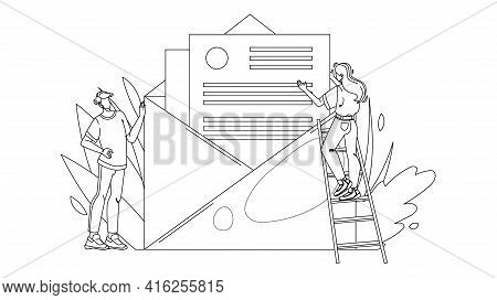 People Opening And Reading Email Message Black Line Pencil Drawing Vector. Young Man And Woman Open