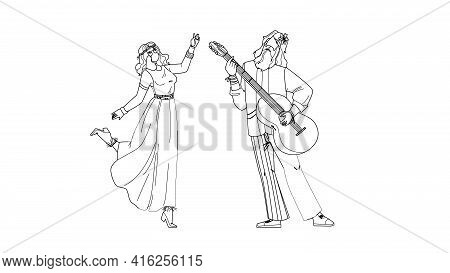 Hippie Couple Dancing And Playing On Guitar Black Line Pencil Drawing Vector. Young Man And Woman Hi