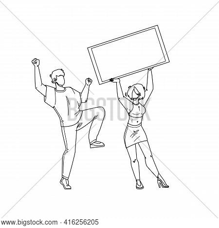 Jackpot Win Money Lucky Boy And Girl Couple Black Line Pencil Drawing Vector. Young Man Dancing And