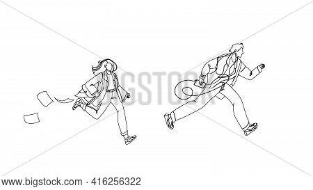Late Person Man And Woman Running On Street Black Line Pencil Drawing Vector. Young Boy With Music P