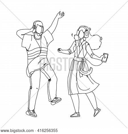 People Couple Listening Music And Dancing Black Line Pencil Drawing Vector. Young Man And Woman List
