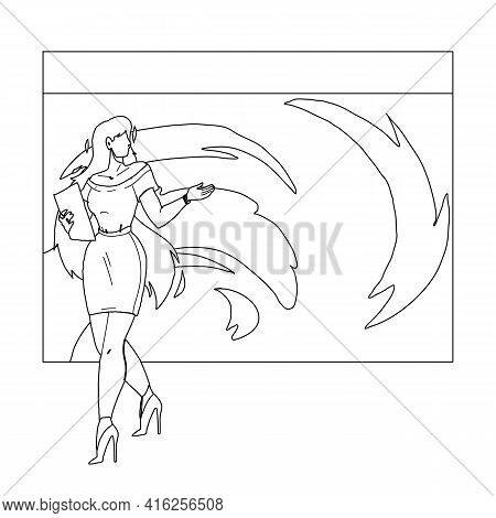 News Weather Reporter Work On Television Black Line Pencil Drawing Vector. Weekly Weather Forecast B