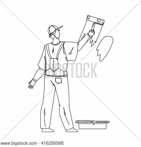 Painter Man Painting Wall With Roller Tool Black Line Pencil Drawing Vector. Painter Boy Renovating