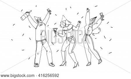 People Celebrating Birthday Or Christmas Black Line Pencil Drawing Vector. Young Man And Women Celeb