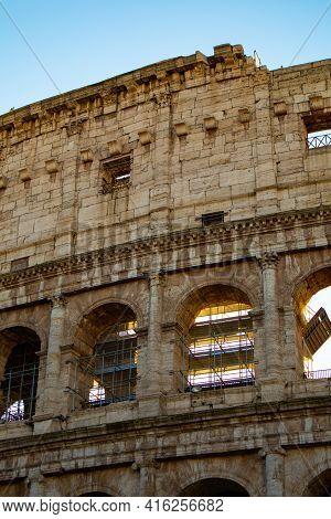 Views Of Roman Coliseum, Roman Colosseum, Rome, Lazio. Italy