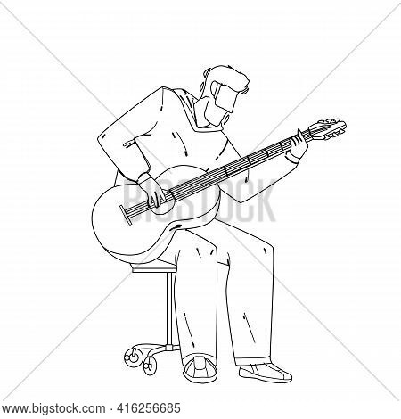Playing Guitar Musician Instrument Boy Black Line Pencil Drawing Vector. Young Man Acoustic Guitaris