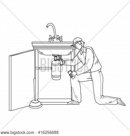 Plumber In Working Overall Fixing Sink Black Line Pencil Drawing Vector. Plumber Man Fix Kitchen Or