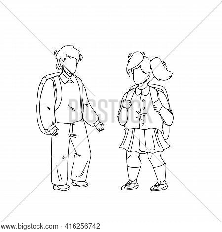 Pupils Kids With Backpack Staying Together Black Line Pencil Drawing Vector. Pupils Boy And Girl Goi
