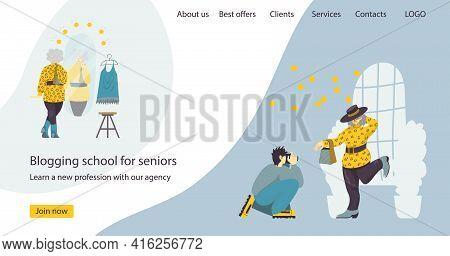 A Vector Design Of Website Header Banner For Blogging School For Seniors. Illustration Of An Elderly