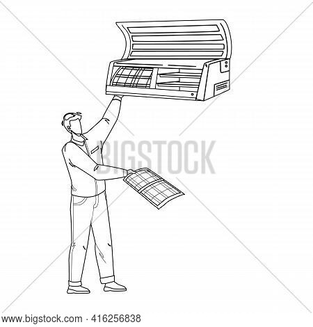 Repairing Conditioner Service Worker Man Black Line Pencil Drawing Vector. Repairman Fixing And Clea