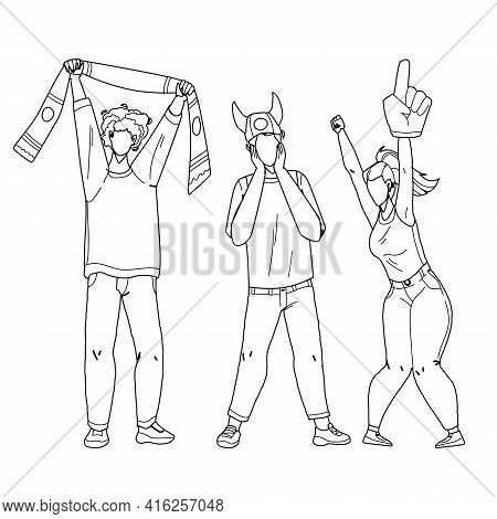 Sports Fans Cheering And Shouting Together Black Line Pencil Drawing Vector. Young Men And Woman Spo