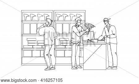 Tool Store Selling Instruments For Repair Black Line Pencil Drawing Vector. Clients Man Choosing Ele