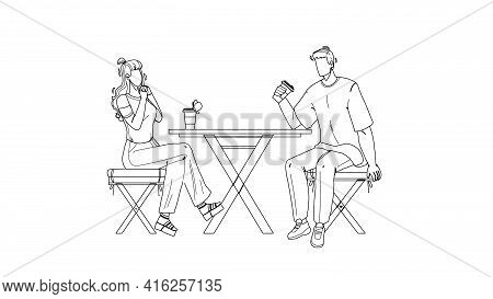 Urban Park Visitors Drink Coffee At Table Black Line Pencil Drawing Vector. Young Man And Woman Sitt