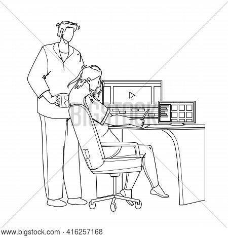 Video Editor Working On Laptop At Workplace Black Line Pencil Drawing Vector. Young Man And Woman Co
