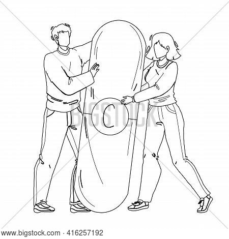 Vitamin Pill Holding Man And Woman Couple Black Line Pencil Drawing Vector. Vitamin Medical Drug Hol