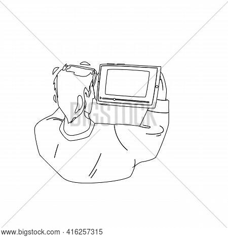 Man Watching Video On Tablet Digital Device Black Line Pencil Drawing Vector. Young Boy Watching Vid
