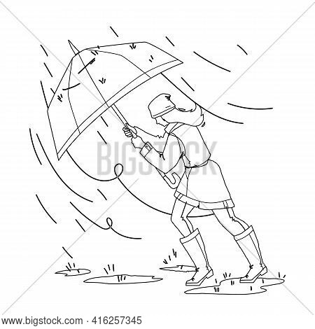 Weather Rain Day Walking Girl With Umbrella Black Line Pencil Drawing Vector. Young Woman Walk In Ra