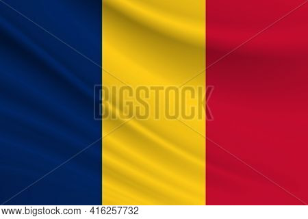 Flag Of Chad. Fabric Texture Of The Flag Of Chad.