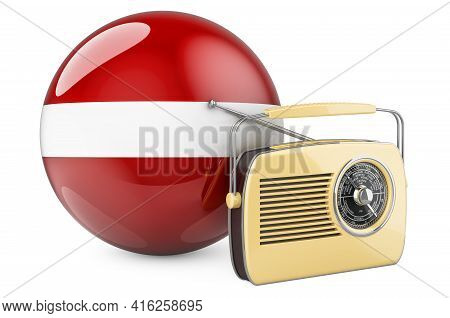 Radio Broadcasting In Latvia Concept. Radio Receiver With Latvian Flag. 3d Rendering Isolated On Whi