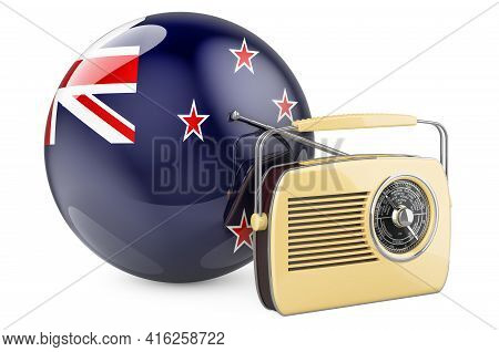 Radio Broadcasting In New Zealand Concept. Radio Receiver With New Zealand Flag. 3d Rendering Isolat