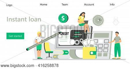 Instant Loan Vector For Landing Page. Online Credit, Loan, Tax Payment Concept, When Tiny People Fil