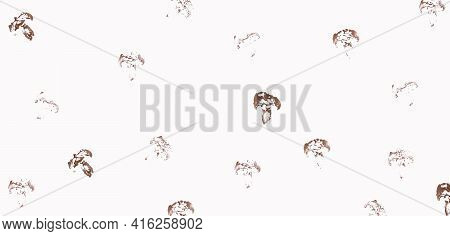 Abstract Banner Food Background. Seamless Pattern Of Acrylic Paint Imprint Of Halves Of A Champignon