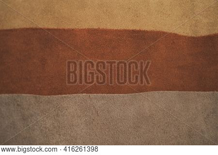 Leather Pieces Assortment Background.brown Genuine Leather Surface.raw Materials For Making Accessor