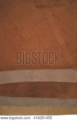 Leather Pieces Assortment Background. Genuine Leather Surface.raw Materials For Making Accessories,