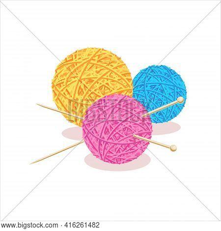 Yarn. Three Balls, A Skein Of Wool With Knitting Needles. Knitting, Needlework, Crochet, Hand Knitti