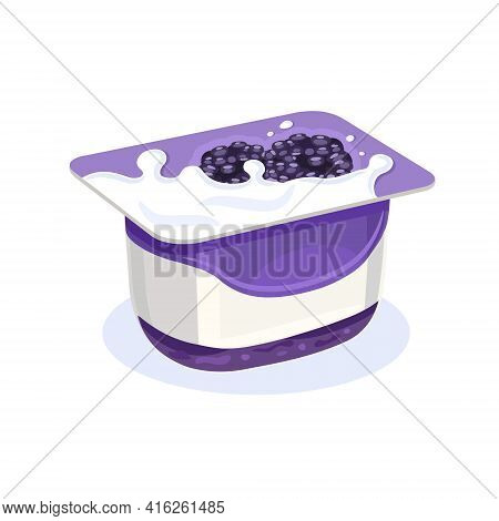 Yogurt. A Can With A Dairy Product, Sweet Creamy Flavor. Morning Quick Breakfast, Healthy Food, Vect
