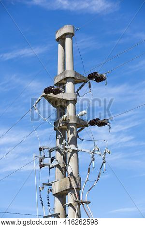 Old Concrete Electrical Poles With With Clear Sky Background In Mercedes City, Uruguay