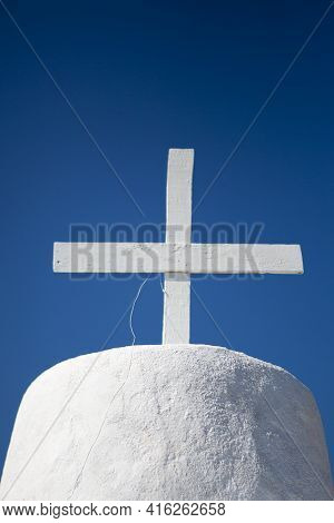 Gorgeous Blue And White Orthodox Small Chapel In Folegandros With Clear Blue Sky. Greece 2013