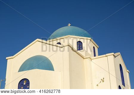 Detail Of A Blue And White Orthodox Church With A Blue Sky In Folegandros. Greece 2013