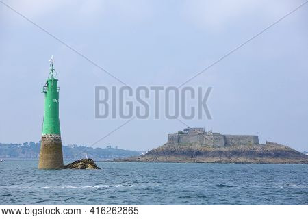 Green Lighthouse In The Bay Of Saint-malo, Brittany, France