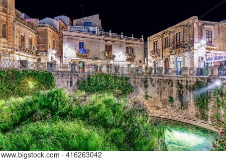 Syracuse Sicily/ Italy - December 20 2018: Source Aretusa In The Night.