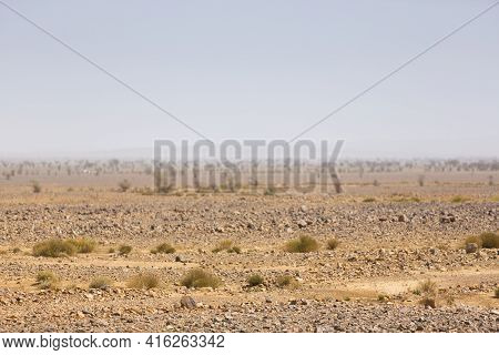 Arid And Hot Day In The Desert Of Sahara, Near Tata In Morocco.