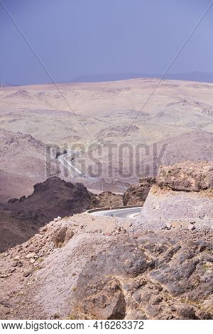 Dades Gorges With Cloudy Weather, High Atlas, Morocco, Africa. Road View, Between Marrakesh And Ouar