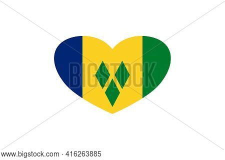 Saint Vincent And The Grenadines Flag In The Heart Shape. Isolated On A White Background.