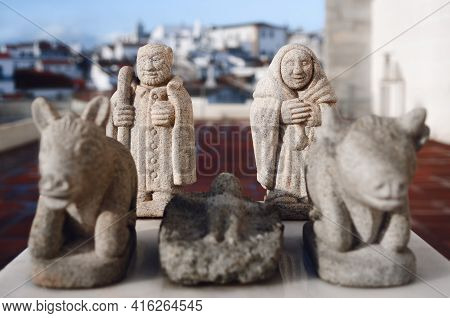 Traditional Portoguese Hand Crafted Nativity Scene Made Of Stone