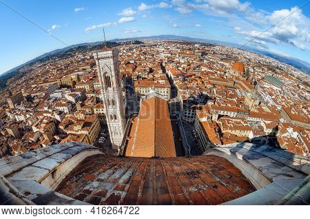 Full Fisheye Aerial View Of Florence Town Center (italy) With Rooftops, Giotto Bell Tower And The Ca