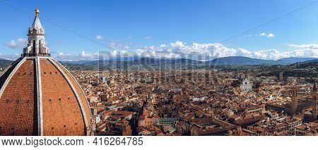 Detail Of The Dome Of Florence Cathedral Of Santa Maria Del Fiore (saint Mary Of The Flower), With T