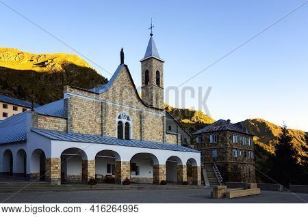 Church Of Sant'anna (saint Anne) In Vinadio: Piedmont, Italy. This Is The Highest Sanctuary In Europ